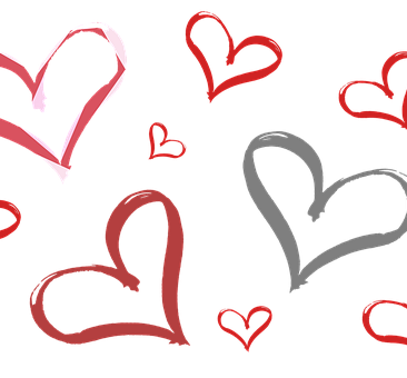 Red and blue hearts on a gray background.