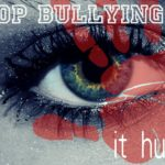 "Eye. surrounded by color with the words ""Stop bullying. It hurts"""