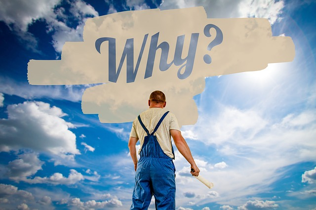 A sky background with a house painter in overalls facing away with a paintbrush above the main is a white paint strokes in the middle is painted Why in blue letters