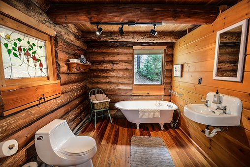 log cabin bathroom