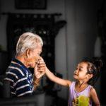 Old man, young girl, grandpa