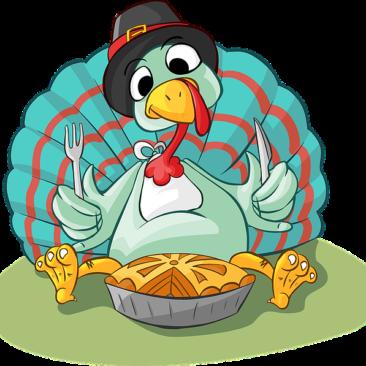 Turkey eating a pie